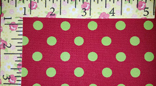 Fabric Finders Lime Dots on Red Twill #1292