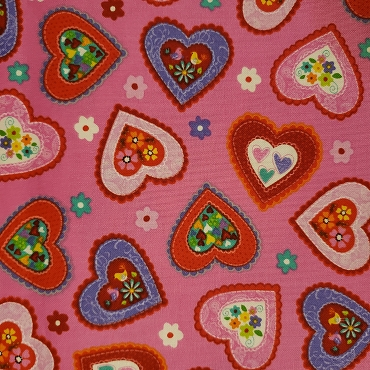 Love is Forever - Valentine Hearts on PInk  - Studio E - 100% Cotton