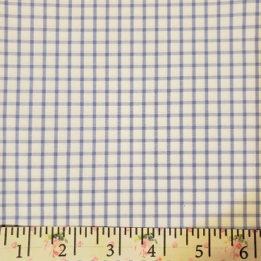 Pima Pastel Classics Blue Check Fabric ~ Spechler Vogel Textiles ~ 100% Pima Cotton - Windowpane Checked Fabric 45W