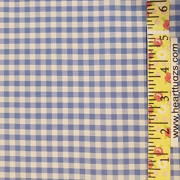 1/4 Gingham Sky Blue Check Fabric