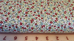 Mini Floral: Crimson, Butter and Turquoise Floral Fabric Print #2073 Fabric Finders 60