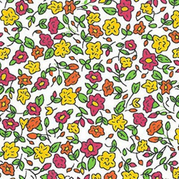 Mini Floral: Orange, Raspberry and Gold Floral Fabric Print #2074