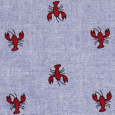 Red Crawfish on Blue Chambray Fabric Print 2129