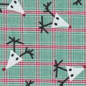 Reindeer Fabric: Plaid – Print #2246  Red and Green Check