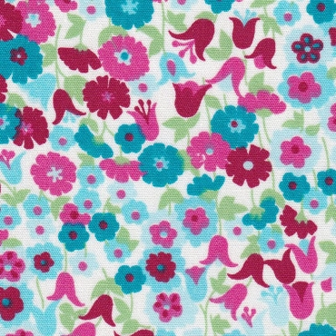 Floral Fabric  Pink, Red, Turquoise and Green -  Print 2301
