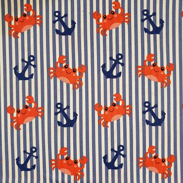Anchor and Crab Fabric: Stripe Fabric Print #2317 58W