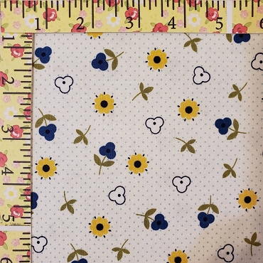 Bitty Dot and Flowers Bitty Dot with Flowers Navy and Yellow - Pennyrose