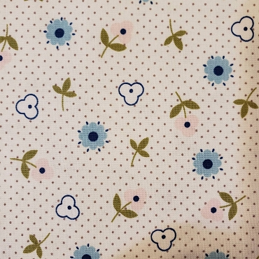 Bitty Dot and Flowers Bitty Dot with Flowers Blue Pink and Gray