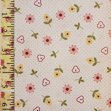 Bitty Dot and Flowers allover 44W 100% Cotton Pink Dots Pink and Yellow Flowers - Pennyrose