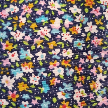 Turquoise Gold and Navy Mini Floral Fabric  Print #2071 60W 100% Cotton