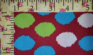 Fabric Finders 1710 Turquoise Lime White Dots on Red  Santa Hat Ball Topper Circles - Christmas Fabric