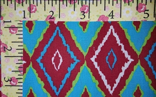 Fabric Finders 1711 Turquoise Red Blender Diamond Shape all over Christmas Fabric