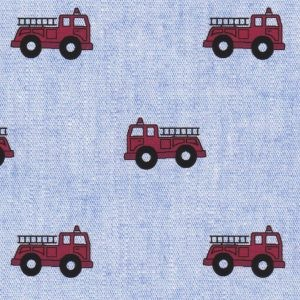 Red Firetrucks on Blue Chambray  Print #2321
