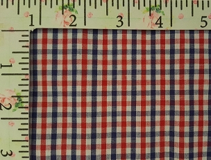 Tattersall - T96 Red and Navy Tattersall Check Fabric T96