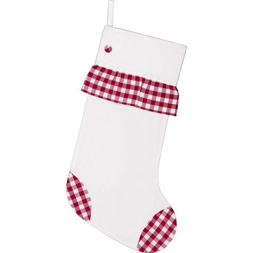 VHC Brands Emmie White Stocking with Red Gingham Ruffle Toe and Heels