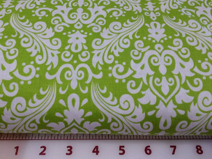 Lime on White Hollywood Medium Damask Fabric Riley Blake