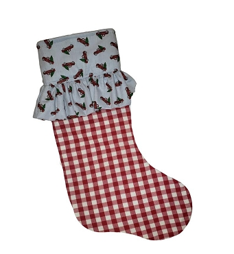 Truck with Trees and Gingham Christmas Stocking