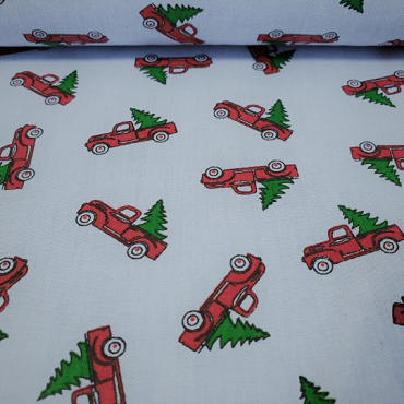 Red Truck With Christmas Tree Fabric: Blue Chambray – Print #2264