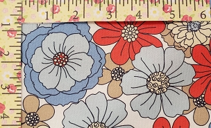 Red Blue Floral Pique with Khaki and Yellow