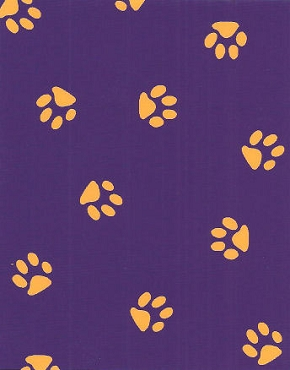 Yellow Paws on Purple Fabric Imperfect