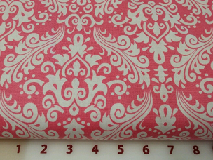 Hot Pink on White Hollywood Medium Damask Fabric Riley Blake