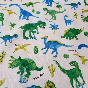 Water Blur Dinosaurs in Green and Blue Oxford by Kokka