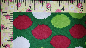 Fabric Finders 1696 Lime Red and White Santa Hat Ball Topper Circles - Christmas Fabric