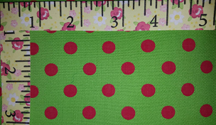 Fabric Finders Red Dots on Green Twill #1293