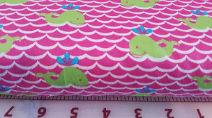Lime Whales on Pink with White Waves