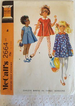 McCalls 2664  ~ Childs Pleated Dress with Collar  ~ Size: 6x ~  1970 ~ Vintage Pattern ~ Uncut Sewing Pattern ~ GRTODPAT