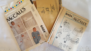McCalls 6424 Christening Dress Bonnett Coveralls Crib Basket Cover Size 6mos 1978 Vintage Sewing Pattern ~ Cut ~ GRTODPAT