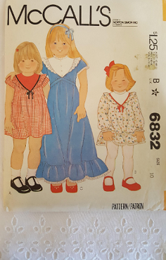 McCalls 6832  ~  Childrens and Girls Dress  ~ Size: 10 ~ Dated 1979 ~ Vintage Pattern ~ Uncut Sewing Pattern GRTODPAT