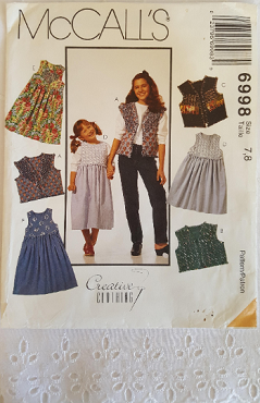 McCalls 6998 ~ childrens and Girls Jumper and Vest ~ Size: 7-8  ~ Vintage Pattern ~ Uncut Sewing Pattern GRTODPAT