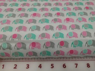 Mini Elephant Fabric Urban Zoologie Minis AAK-15300-10 Pink Elephants all over by Robert Kaufman