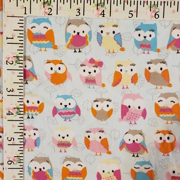 Cute Owls Allover on Twill