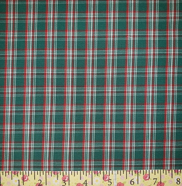 P-52 Red, Green and White Plaid Fabric Great Holiday Plaid