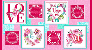 Love Letters - Valentine Blocks Red Pink Panel by Barbara Tourtillotte for Henry Glass