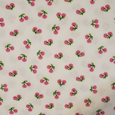 Cherry Print Fabric -  Pink Cherries on White -  Pique Print 2106