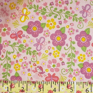 Pink Floral with Flowers Fairies and Butterflies allover 44W 100% Cotton