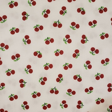 Cherry Print Fabric -  Red Cherries on White - Pique Print 2105
