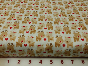 Reindeer Hearts on White C3972 Fabric By Riley Blake