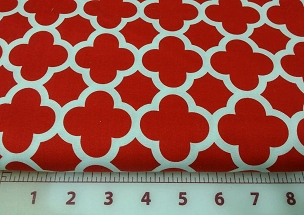 Quatrefoil Riley Blake Moroccan Trellis or Lattice Red