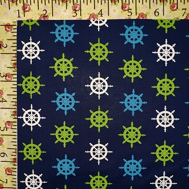 Ships Wheel Fabric Navy Lime Blue and White