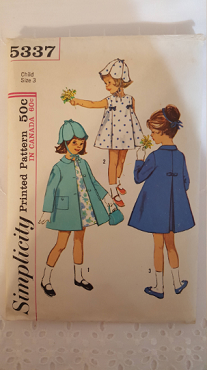 Simplicity 5337 ~ Hat Coat and Dress ~ Size: 3 ~ 1963 ~ Vintage Pattern ~ Sewing Pattern ~ Cut ~ Complete ~ GRTODPAT