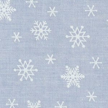 Snowflake Print Fabric: White Snowflakes on Blue Chambray Print #2242