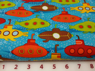 Splish Splash 3 Robert Kaufman Fabric AMF 14014-248 Marine ocean submarines allover
