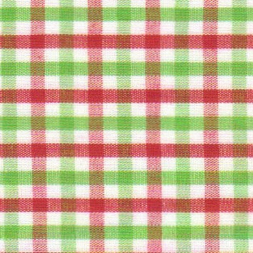 Tattersall - T93 Red and Lime Green Tattersall Check Fabric T93