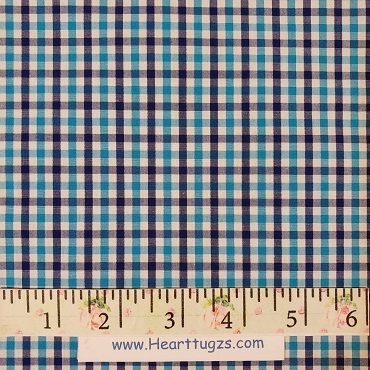 Tattersall -  Turquoise and Navy Pima Cotton Turquoise TRQ094