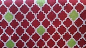 Fabric Finders Quatrefoil Red with Scattered Lime