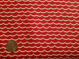 White Wavy Lines on Red
